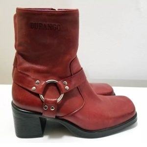 Durango Red Leather Chunky Heel Boots Size 7.5